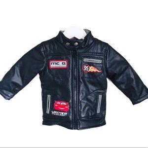 DISNEY Cars Vegan Leather Moto Jacket Black Boy 2T